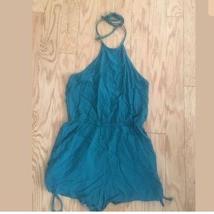 KENDALL AND KYLIE Solid Blue Teal Halter Romper